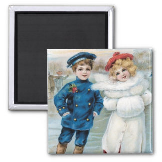 Vintage Boy and Girl Christmas Ice Skaters magnet