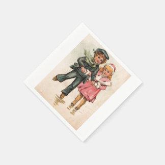 Vintage Boy and Girl Skaters Disposable Napkin