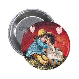 Vintage Boy and Girl Valentine Round Button