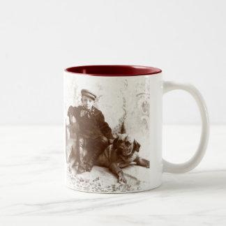 Vintage Boy on Dog Ceramic Mug