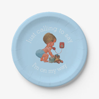 Vintage Boy on Phone Baby Shower Paper Plate