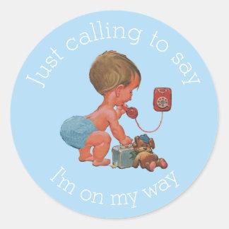 Vintage Boy on Phone Baby Shower Round Sticker