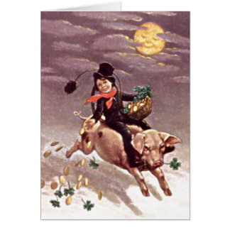 Vintage Boy on Pig Card Greeting Card