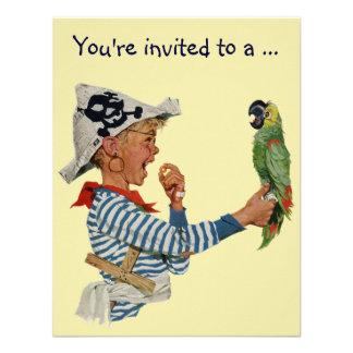 Vintage Boy Pirate Parrot Child Birthday Party Custom Invitation