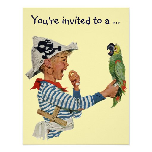 Vintage Boy Pirate Parrot, Child Birthday Party Custom Invitation