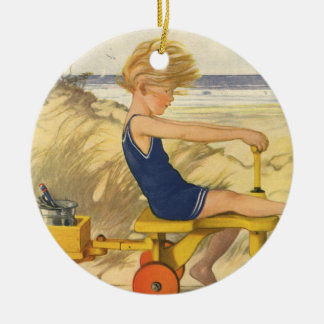 Vintage Boy Playing at the Beach with Sand Toys Ceramic Ornament