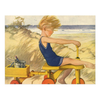 Vintage Boy Playing at the Beach with Sand Toys Postcard