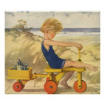 Vintage Boy Playing at the Beach with Sand Toys Posters