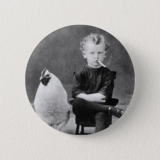 vintage - Boy Smoking with Chicken 6 Cm Round Badge