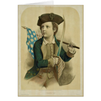 Vintage Boy with American Flag Note Card