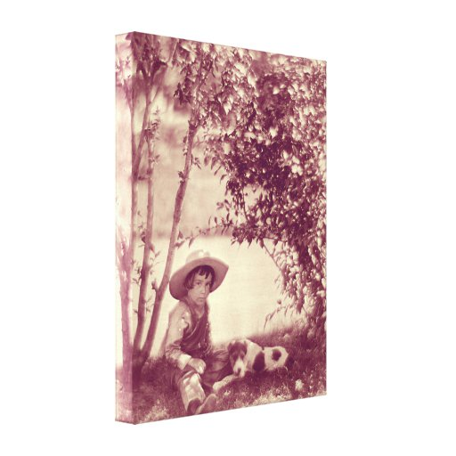 Vintage Boy With Dog At Rest Canvas Print