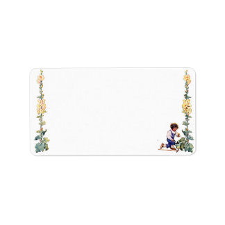 Vintage Boy with Flowers Avery Label Address Label