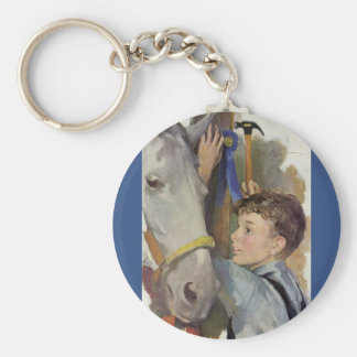 Vintage Boy with His Blue Ribbon Winning Horse Key Chain