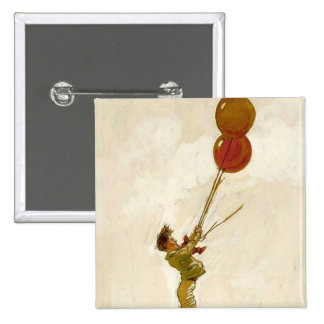 Vintage Boy with Red Balloons at a Birthday Party 15 Cm Square Badge
