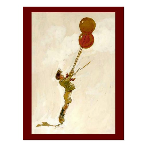 Vintage Boy with Red Balloons at a Birthday Party Post Cards