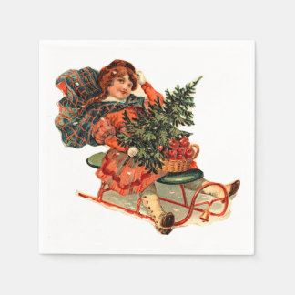 Vintage Boy with Sled and Christmas Tree Napkin Paper Serviettes