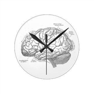 Vintage Brain Anatomy Round Clock