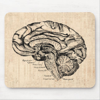 Vintage Brain Artwork Mousepad