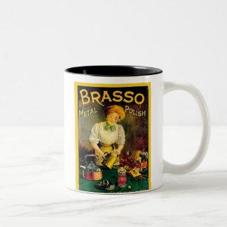 Vintage Brasso Metal Polish Ad Two-Tone Coffee Mug