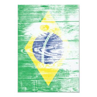 Vintage Brazil national flag White 9 Cm X 13 Cm Invitation Card