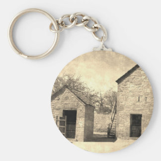 Vintage Brick Homestead Buildings Basic Round Button Key Ring