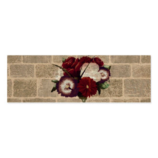 Vintage Bricks Wall Pattern. Flowers Design Business Cards