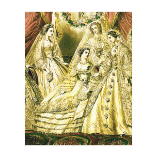 Vintage Bridal Brides Antique White Wedding Canvas Print