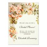 Vintage Bridal Shower Antique Roses Flowers Floral Personalized Announcement