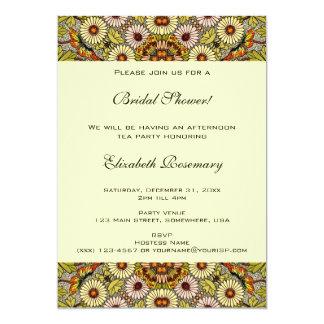 Vintage Bridal Shower, Garden Flowers Butterflies 13 Cm X 18 Cm Invitation Card