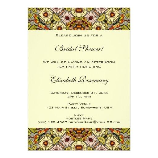 Vintage Bridal Shower, Garden Flowers Butterflies Announcement