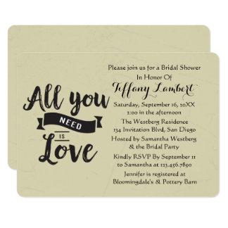 Vintage Bridal Shower Tan And Black Love Wedding Card