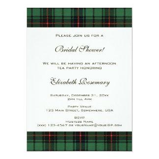 "Vintage Bridal Shower, Tartan Davidson Pattern 5.5"" X 7.5"" Invitation Card"
