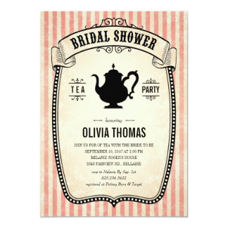 Vintage Bridal Shower Tea Party Invitations
