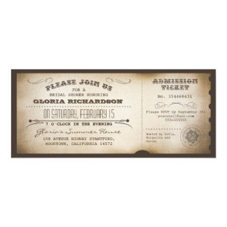 "vintage bridal shower ticket typography design 4"" x 9.25"" invitation card"