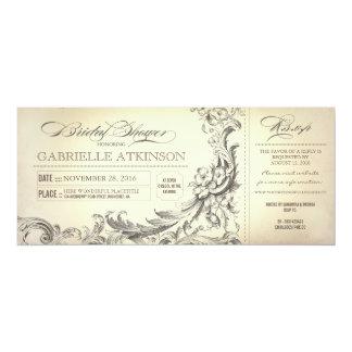 "vintage bridal shower tickets invitations 4"" x 9.25"" invitation card"