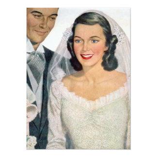 Vintage Bride and Groom 14 Cm X 19 Cm Invitation Card