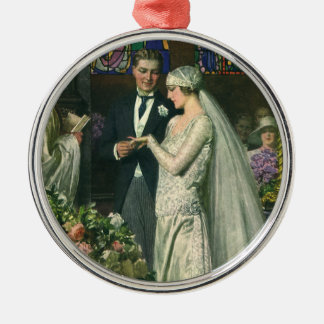 Vintage Bride and Groom, Church Wedding Ceremony Silver-Colored Round Decoration