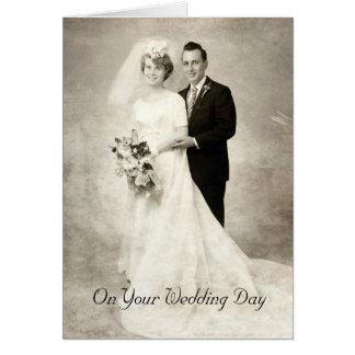 Vintage Bride and Groom, Congratulations Wedding Card