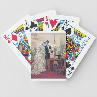 Vintage Bride And Groom Illustration Bicycle Playing Cards