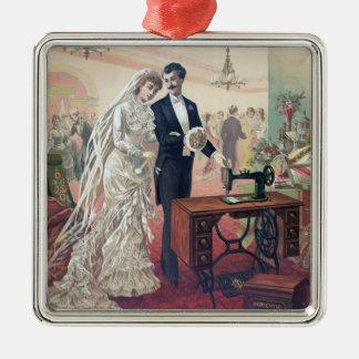 Vintage Bride And Groom Illustration Metal Ornament
