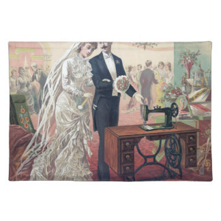 Vintage Bride And Groom Illustration Placemat