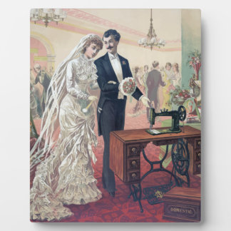 Vintage Bride And Groom Illustration Plaque