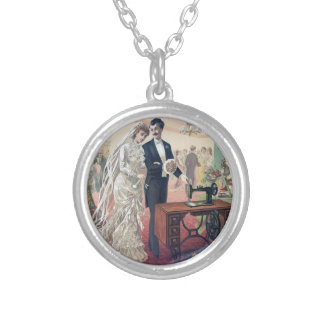 Vintage Bride And Groom Illustration Silver Plated Necklace