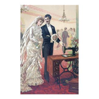 Vintage Bride And Groom Illustration Stationery