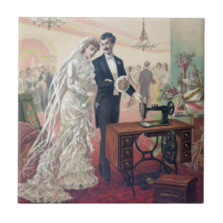 Vintage Bride And Groom Illustration Tile