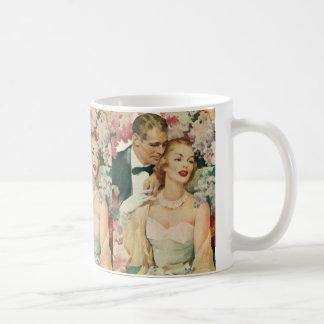 Vintage Bride and Groom Newlyweds and Flowers Basic White Mug