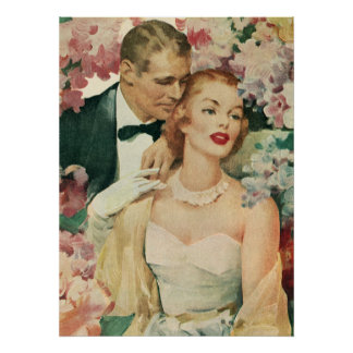 Vintage Bride and Groom Newlyweds and Flowers Poster