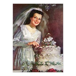 Vintage Bride and Her Wedding Cake 14 Cm X 19 Cm Invitation Card