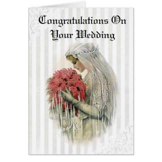 Vintage Bride Congratulations on Your Wedding Card