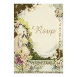 Vintage Bride & Groom Chic Romantic Wedding RSVP Personalized Announcements